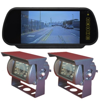 Clip on mirror rear view monitor and 2 CCD reversing cameras