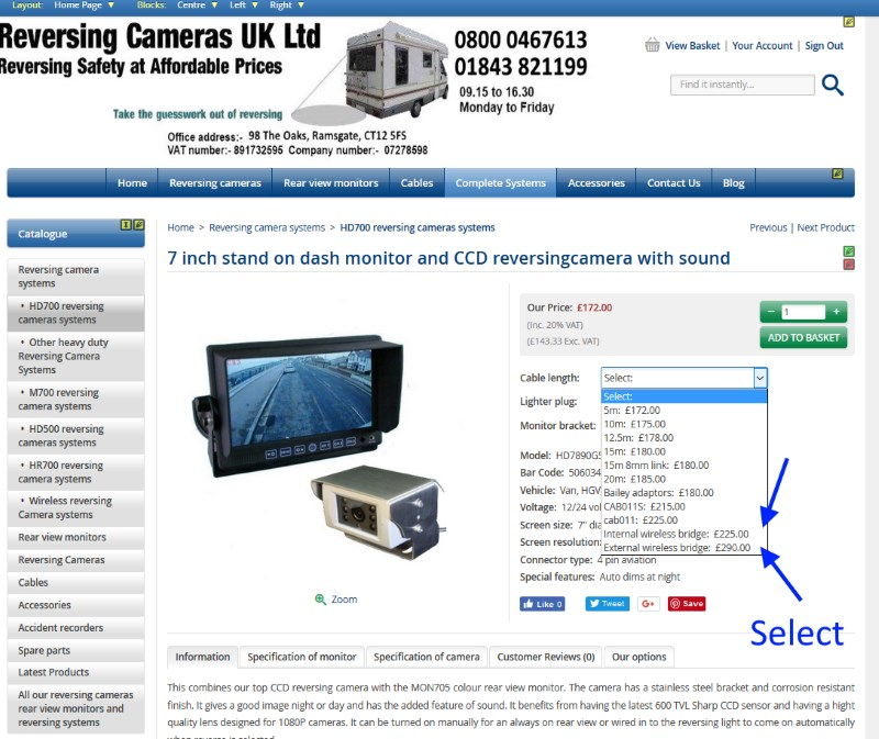 Ordering a wireless reversing camera
