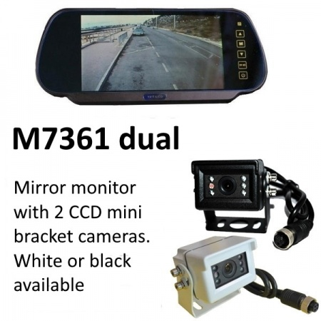 7 inch mirror rear view monitor monitor and two small CCD bracket reversing  cameras