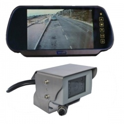 7 inch mirror monitor monitor and CCD reversing camera with polished stainless steel bracket